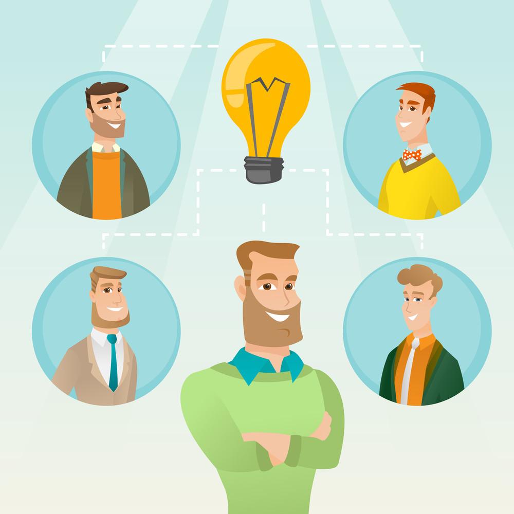 Caucasian businessmen working on business idea. Group of businessmen discussing business idea. Group of business people connected by one idea light bulb. Vector flat design illustration. Square layout