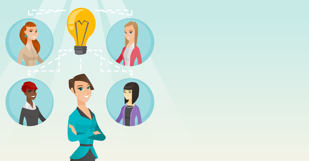 Caucasian businesswomen working on a business ideas. Businesswomen discussing business idea. Group of businesswomen connected by one idea light bulb. Vector flat design illustration. Horizontal layout