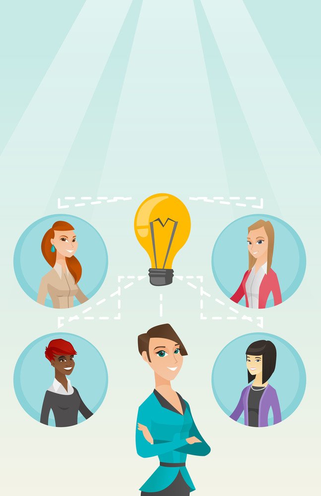 Caucasian businesswomen working on a business ideas. Businesswomen discussing business idea. Group of businesswomen connected by one idea light bulb. Vector flat design illustration. Vertical layout.