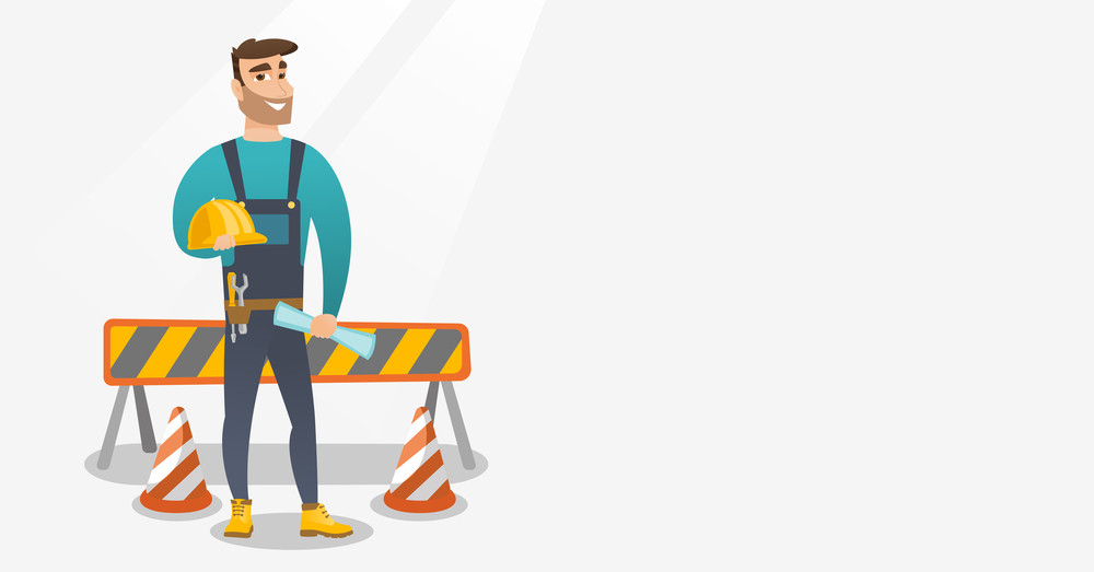 Caucasian constructor with blueprint at construction site. Constructor holding helmet and twisted blueprint. Constructor checking construction works. Vector flat design illustration. Horizontal layout