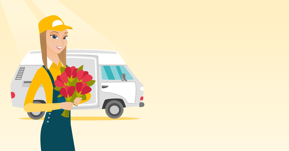 Caucasian courier with flowers on background of delivery truck. Delivery courier with bouquet of flowers. Young delivery courier delivering flowers. Vector flat design illustration. Horizontal layout.