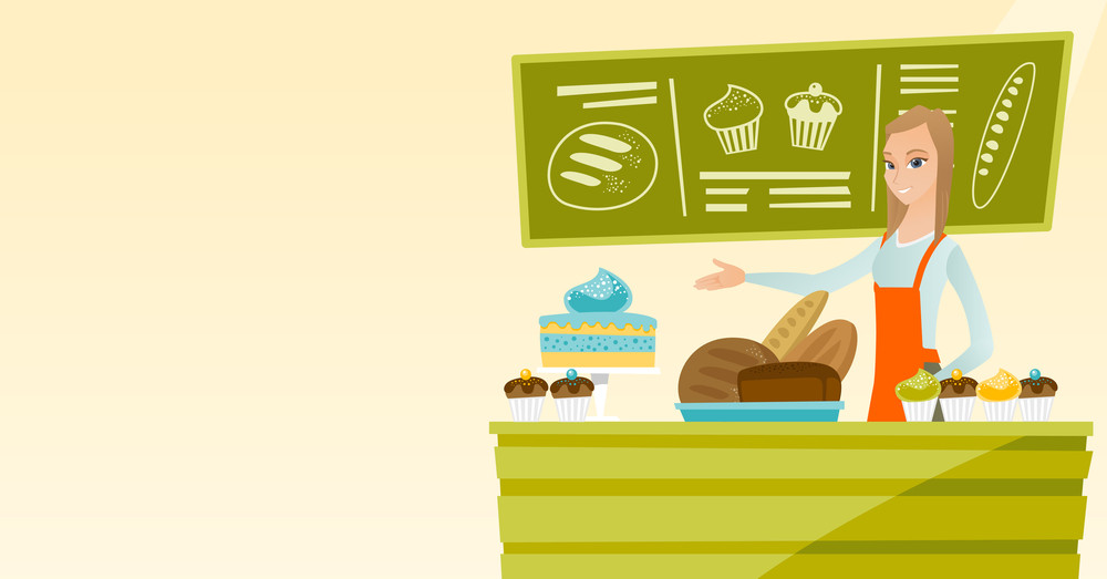 Caucasian female bakery worker offering pastry. Smiling female bakery worker standing behind the counter with cakes. Woman working at the bakery. Vector flat design illustration. Horizontal layout.