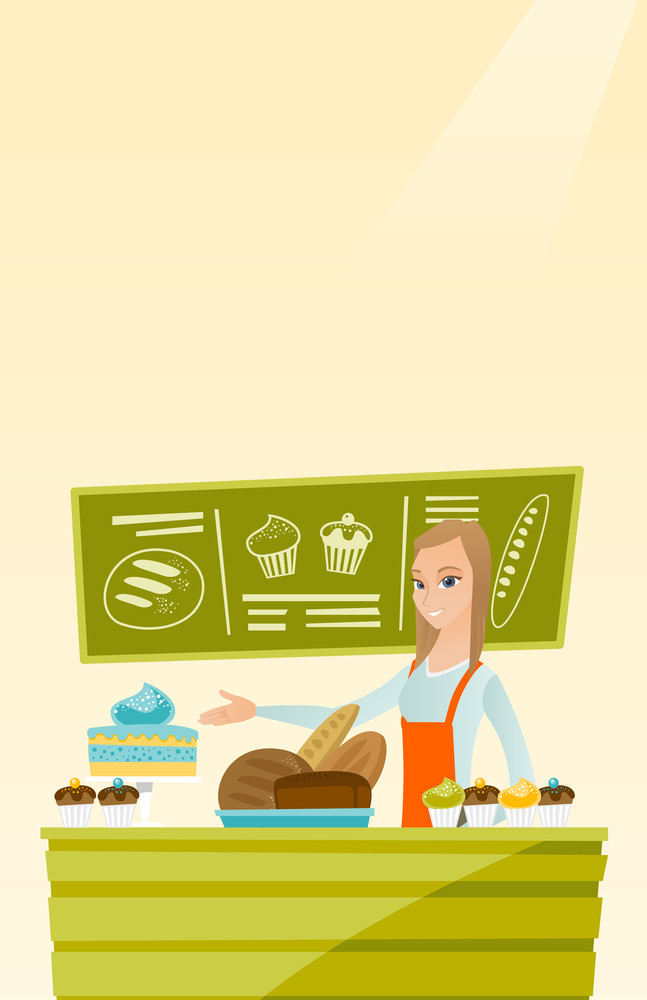 Caucasian female bakery worker offering pastry. Smiling female bakery worker standing behind the counter with cakes. Woman working at the bakery. Vector flat design illustration. Vertical layout.