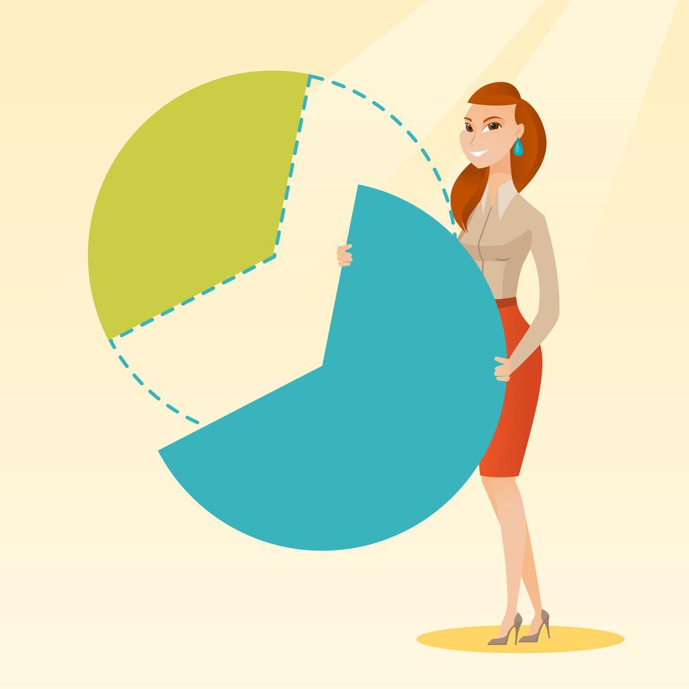 Caucasian Female Shareholder Taking Her Share Of Financial Pie Chart