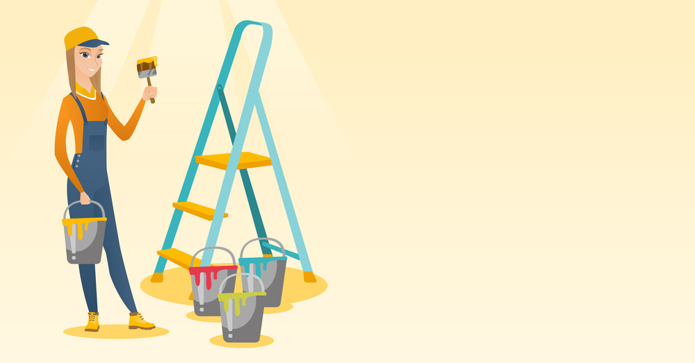 Caucasian house painter holding paintbrush. House painter with paintbrush in hand standing near step-ladder and paint cans. House renovation concept. Vector flat design illustration. Horizontal layout