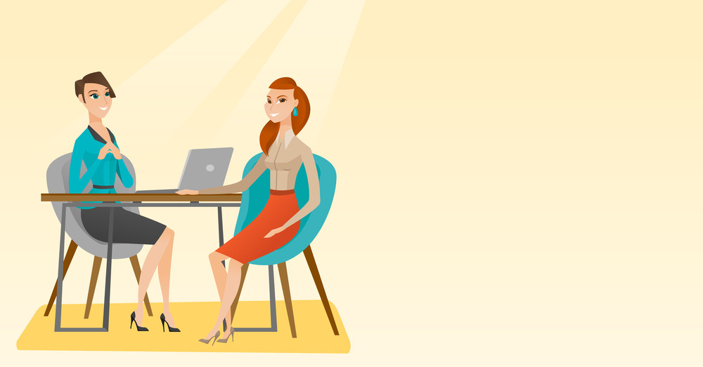 Caucasian human resource manager talking with job applicant. Young female job applicant during job interview for the position. Job interview concept. Vector flat design illustration. Horizontal layout