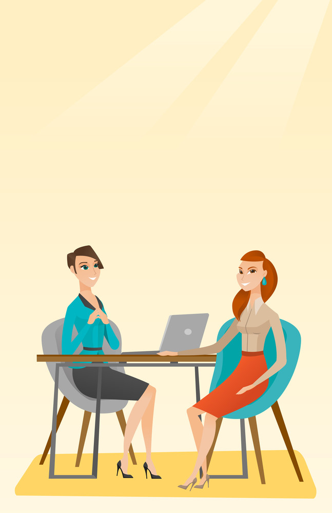 Caucasian human resource manager talking with job applicant. Young female job applicant during job interview for the position. Job interview concept. Vector flat design illustration. Vertical layout.