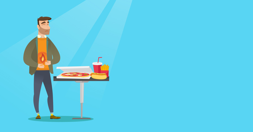 Caucasian man having a stomach ache from heartburn. Young hipster man suffering from a heartburn. Upset man having a stomach ache after fast food. Vector flat design illustration. Horizontal layout.