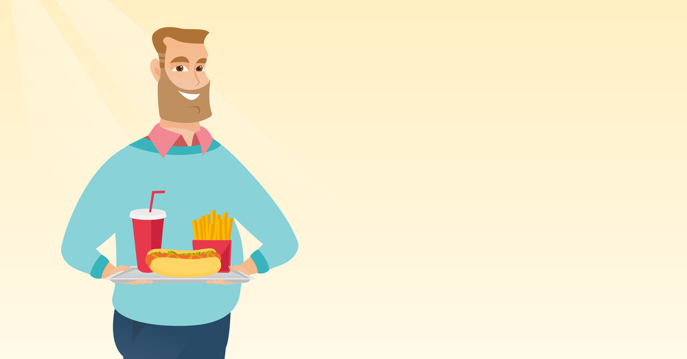 Caucasian man holding a tray with fast food. Young man having lunch in a fast food restaurant. Happy man with fast food. Unhealthy nutrition concept. Vector flat design illustration. Horizontal layout