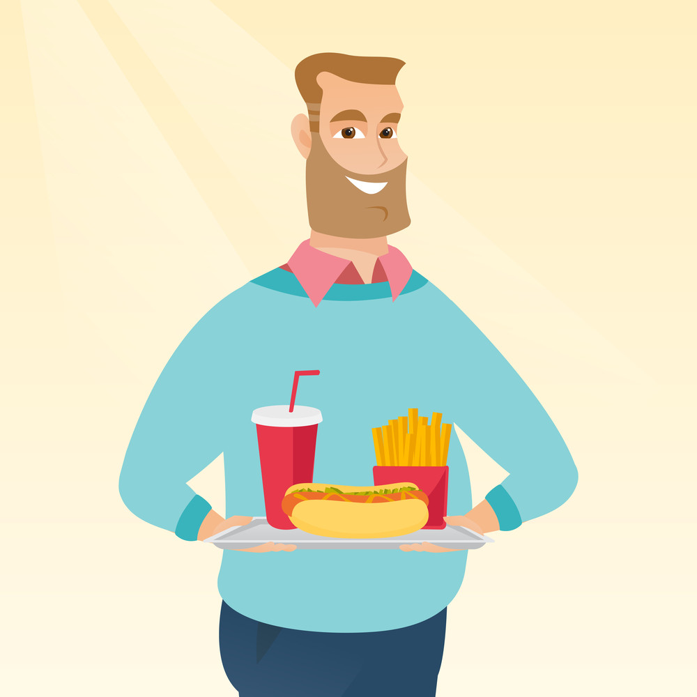 Caucasian man holding a tray with fast food. Young man having lunch in a fast food restaurant. Happy man with fast food. Unhealthy nutrition concept. Vector flat design illustration. Square layout.