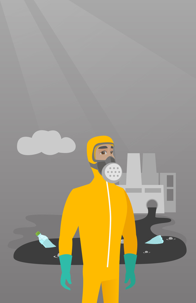 Caucasian man in gas mask and radiation protective suit standing on the background of nuclear power plant. Scientist wearing radiation protection suit. Vector flat design illustration. Vertical layout