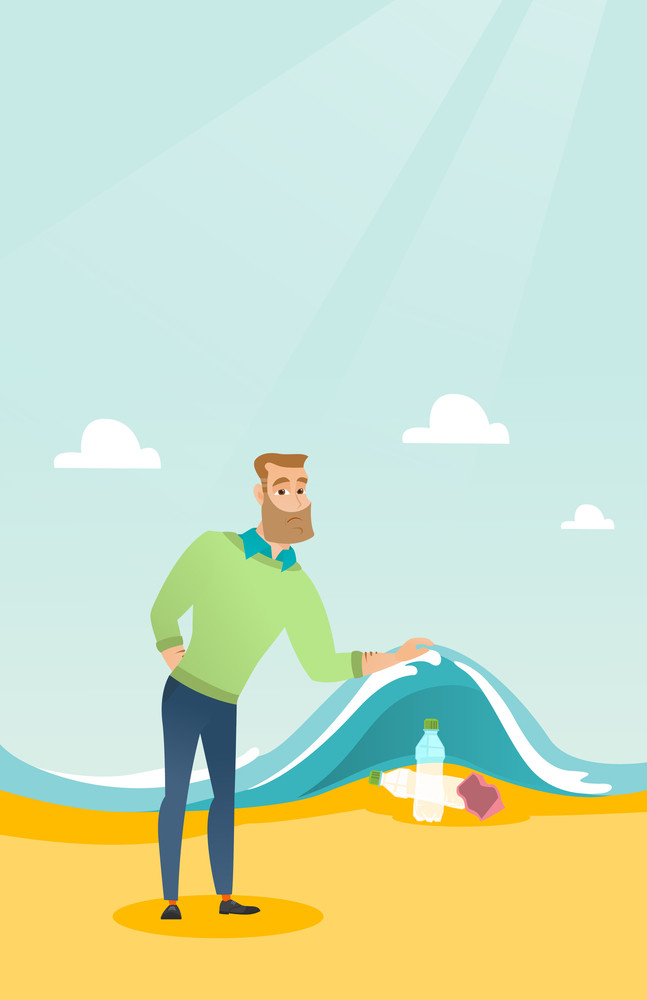 Caucasian man showing plastic bottles under water of sea. Man collecting plastic bottles from water. Water pollution and plastic pollution concept. Vector flat design illustration. Vertical layout.