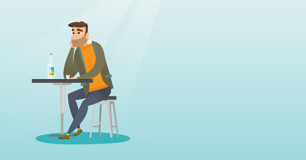 Caucasian man sitting in the bar and drinking a cocktail. Young sad man sitting alone in the bar with a cocktail. Man drinking a cocktail in the bar. Vector flat design illustration. Horizontal layout