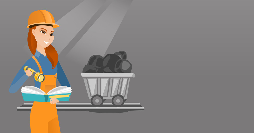 Caucasian miner checking documents with the flashlight on the background of trolley with coal. Mine worker in hard hat. Female miner in coal mine. Vector flat design illustration. Horizontal layout.