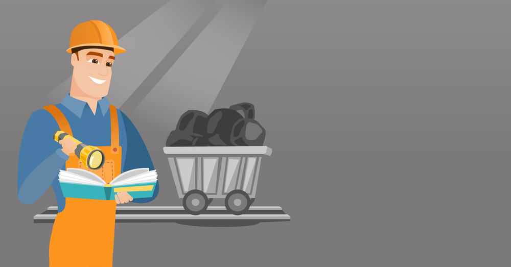 Caucasian miner checking documents with the flashlight on the background of trolley with coal. Mine worker in hard hat. Miner working in coal mine. Vector flat design illustration. Horizontal layout.