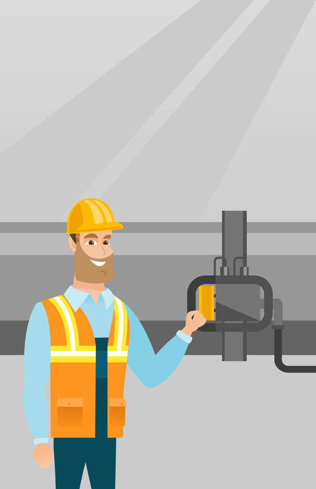 Caucasian operator of oil refinery plant checking detector on pipeline. Worker standing on the background of pipeline. Technician maintaining pipeline. Vector flat design illustration. Vertical layout