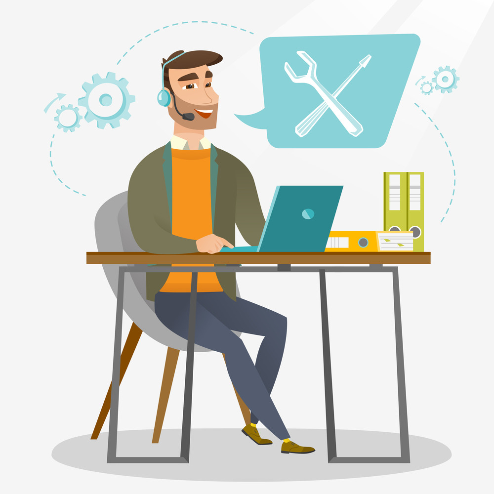 Caucasian professional operator of technical support working on computer. Hipster operator of technical support at work. Concept of technical support. Vector flat design illustration. Square layout.