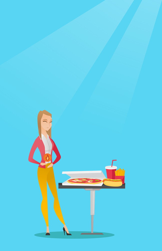 Caucasian sad woman having a stomach ache from heartburn. Young woman suffering from a heartburn. Upset woman having a stomach ache after fast food. Vector flat design illustration. Vertical layout.