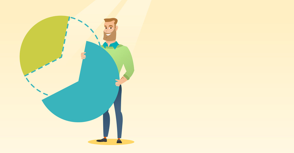 Caucasian shareholder taking his share of financial pie chart. Young shareholder getting his share of business profit. Businessman sharing profit. Vector flat design illustration. Horizontal layout.