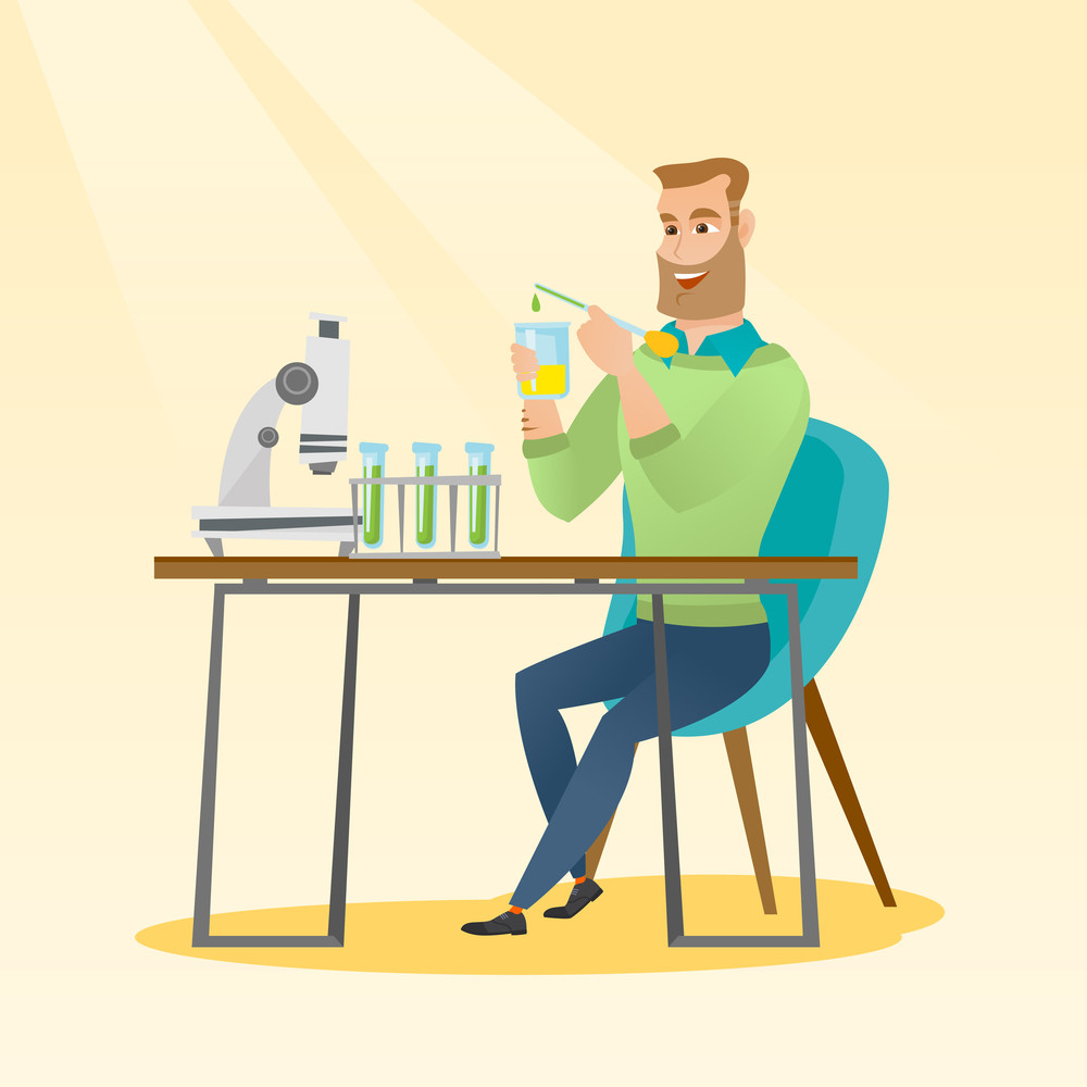 Caucasian smiling student carrying out laboratory experiment. Student working with microscope at laboratory class. Student experimenting in laboratory. Vector flat design illustration. Square layout.