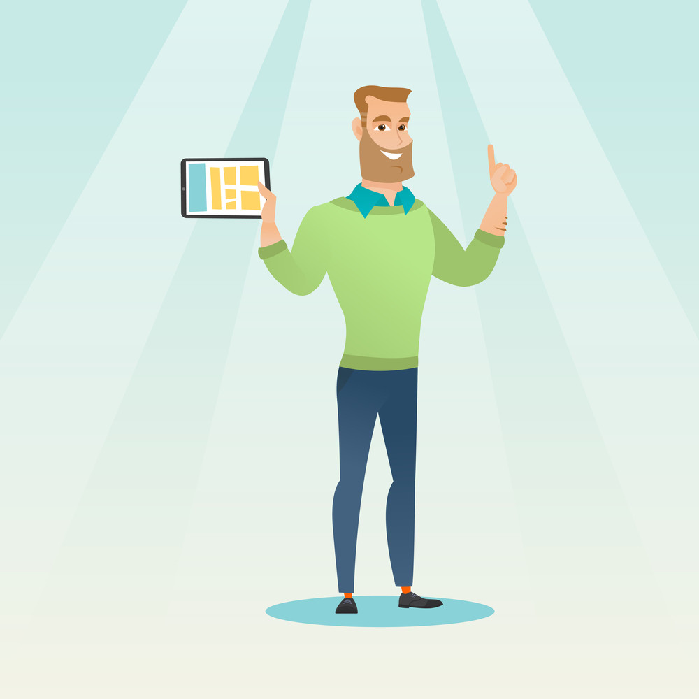 Caucasian student holding tablet computer and pointing forefinger up. Student using a tablet computer for education. Concept of educational technology. Vector flat design illustration. Square layout.