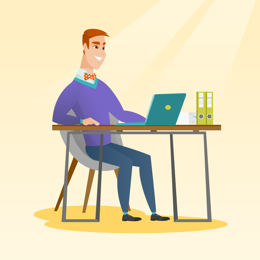 Caucasian student sitting at the table with laptop. Student using laptop for education. Business man working on a laptop. Educational technology concept. Vector flat design illustration. Square layout