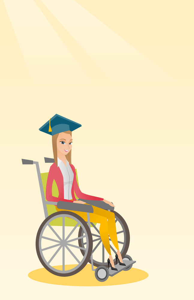 Caucasian student sitting in wheelchair. Cheerful graduate sitting in wheelchair. Happy disabled graduate in graduation cap sitting in wheelchair. Vector flat design illustration. Vertical layout.