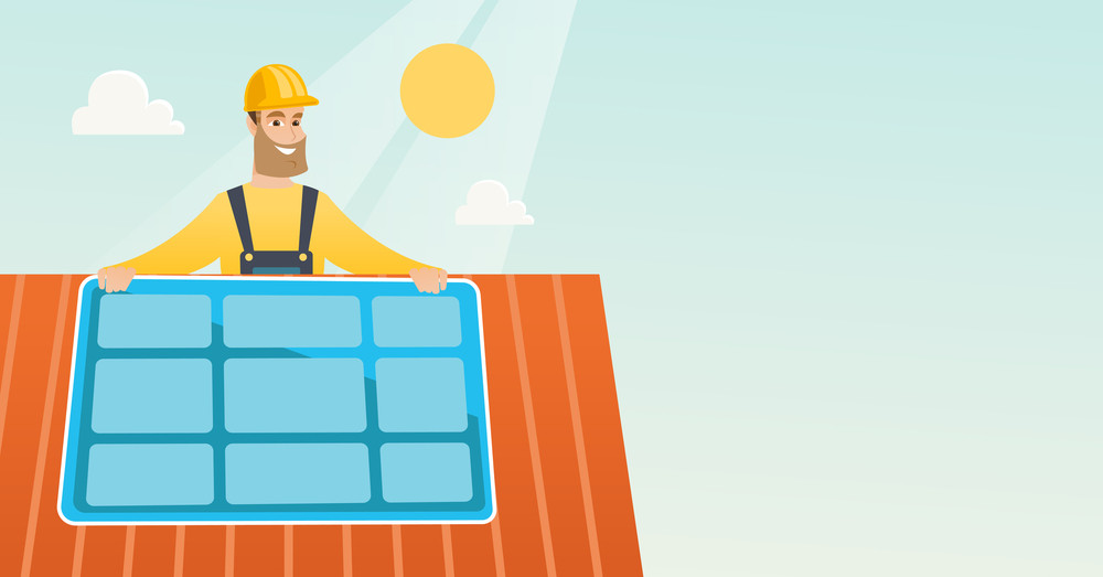 Caucasian technician installing solar panels on roof. Technician in inuform and helmet checking solar panel on roof. Technician adjusting solar panel. Vector flat design illustration Horizontal layout