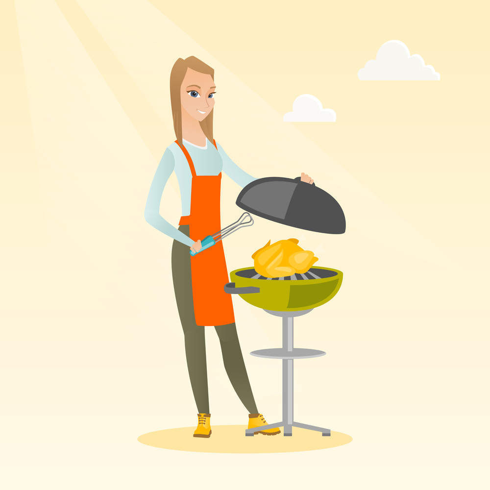 Caucasian woman cooking chicken on the barbecue grill outdoors. Young smiling woman at a barbecue party. Woman preparing chicken on the barbecue grill. Vector flat design illustration. Square layout.