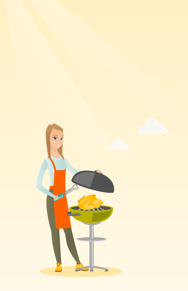 Caucasian woman cooking chicken on the barbecue grill outdoors. Young smiling woman at a barbecue party. Woman preparing chicken on the barbecue grill. Vector flat design illustration. Vertical layout