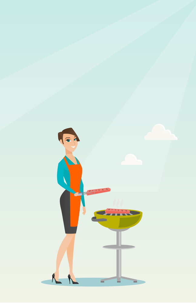 Caucasian woman cooking steak on the barbecue grill. Young smiling woman preparing steak on the barbecue grill. Cheerful woman having outdoor barbecue. Vector flat design illustration. Vertical layout