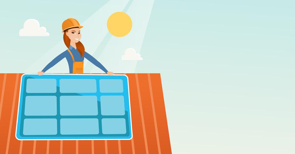 Caucasian woman installing solar panels on roof. Technician in ...