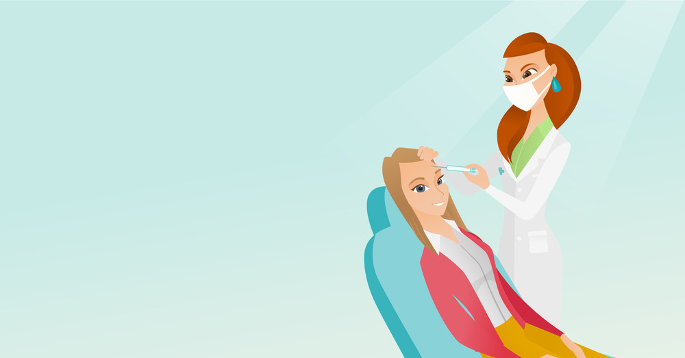 Caucasian woman lying on the couch in beauty salon and getting cosmetic dermal injection in face. Doctor making beauty injections to female client. Vector flat design illustration. Horizontal layout.