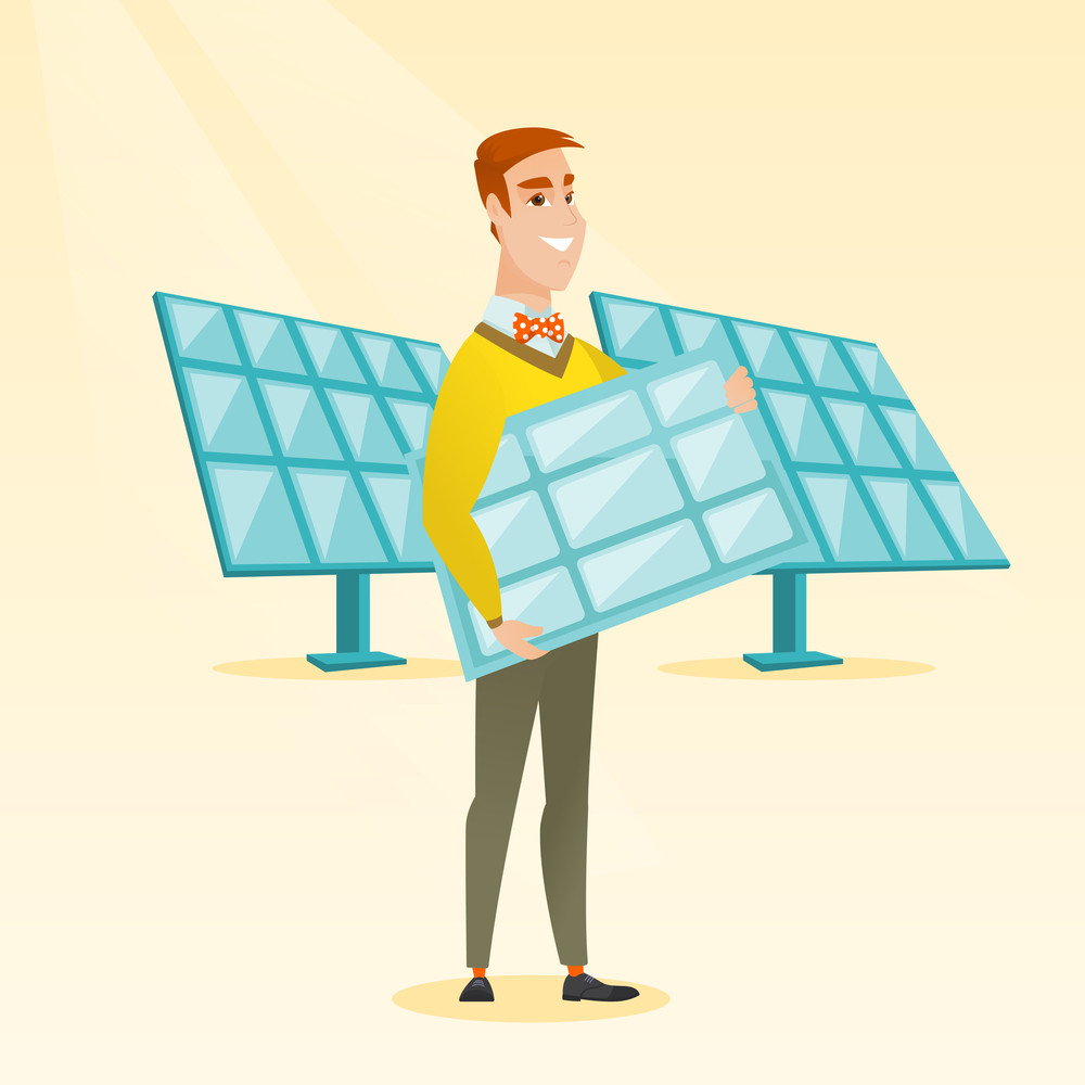 Caucasian Worker Of Solar Power Plant Holding Panel In Hands Layout Images Young Man With Standing On The Background Vector Flat Design Illustration Square