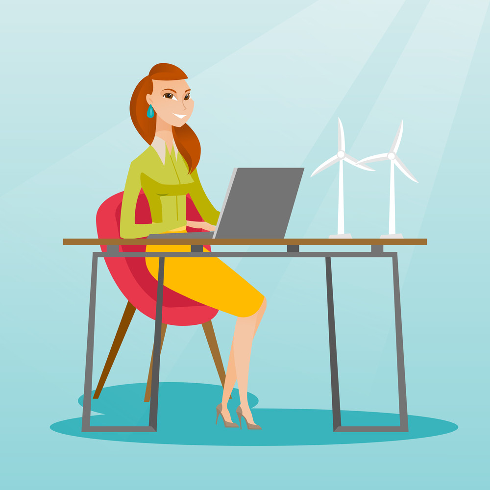 Caucasian worker of wind farm working on a laptop. Engineer projecting wind turbine in office. Worker of wind farm working with model of wind turbine. Vector flat design illustration. Square layout.