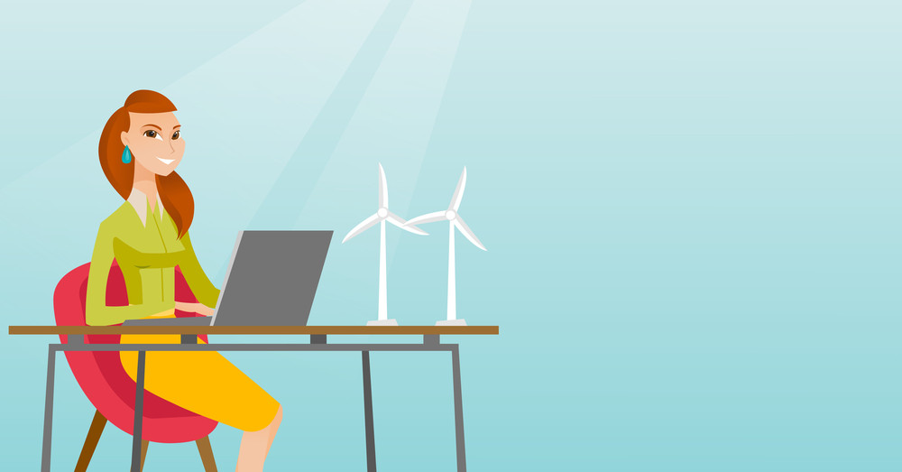 Caucasian worker of wind farm working on laptop. Engineer projecting wind turbine in office. Worker of wind farm working with model of wind turbine. Vector flat design illustration. Horizontal layout.