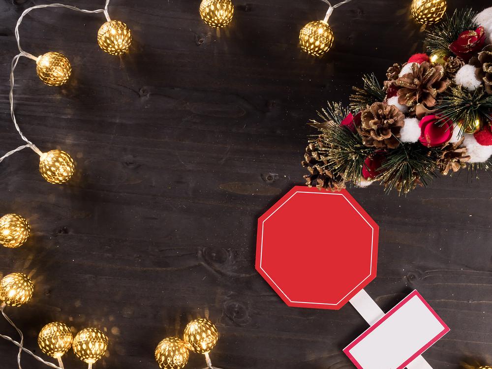 Christmas Ornament And Christmas Lights On Vintage Wooden