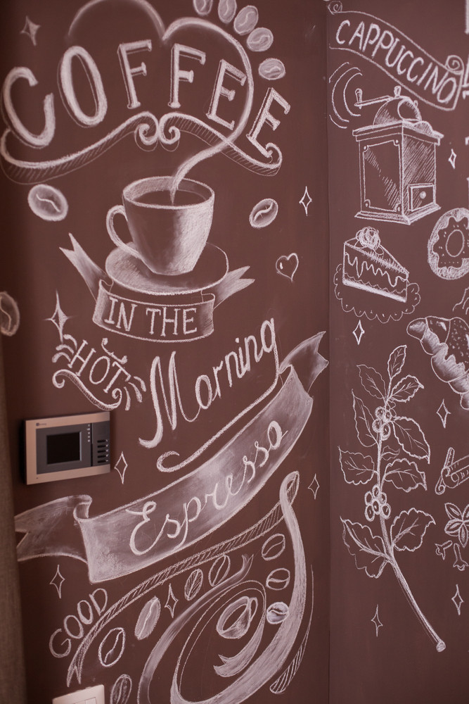 Coffee house logo with fade effect on the walls. Creative design.