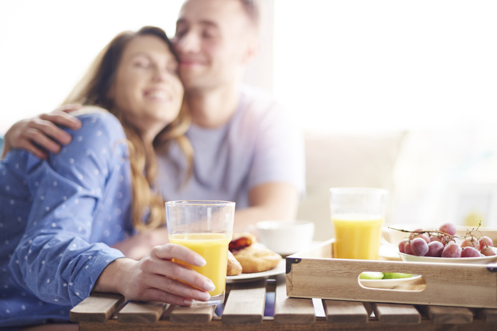 Couple enjoying their breakfast meal together
