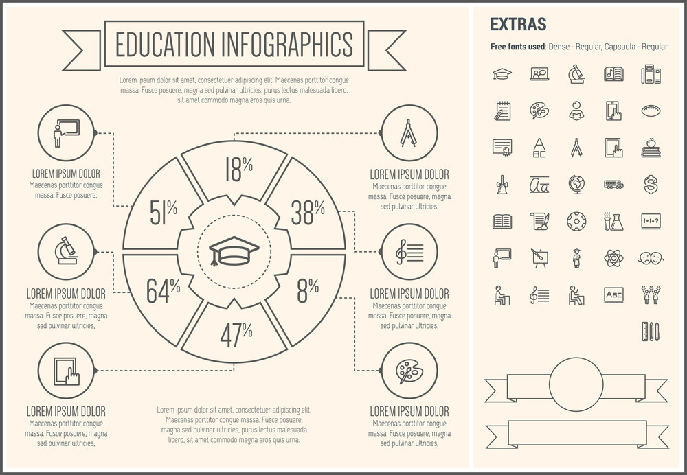 Education infographic template and elements. The template includes the following set of icons - graduation cap, microscope, music book, notepad with pen, compass, tablet, books, dollar sign, atom and more.
