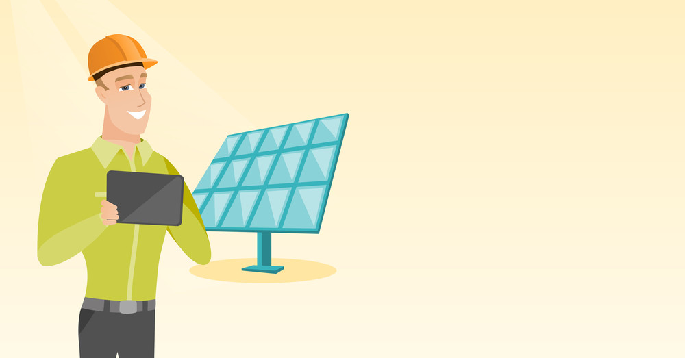 Engineer working on tablet at solar power plant  Worker with