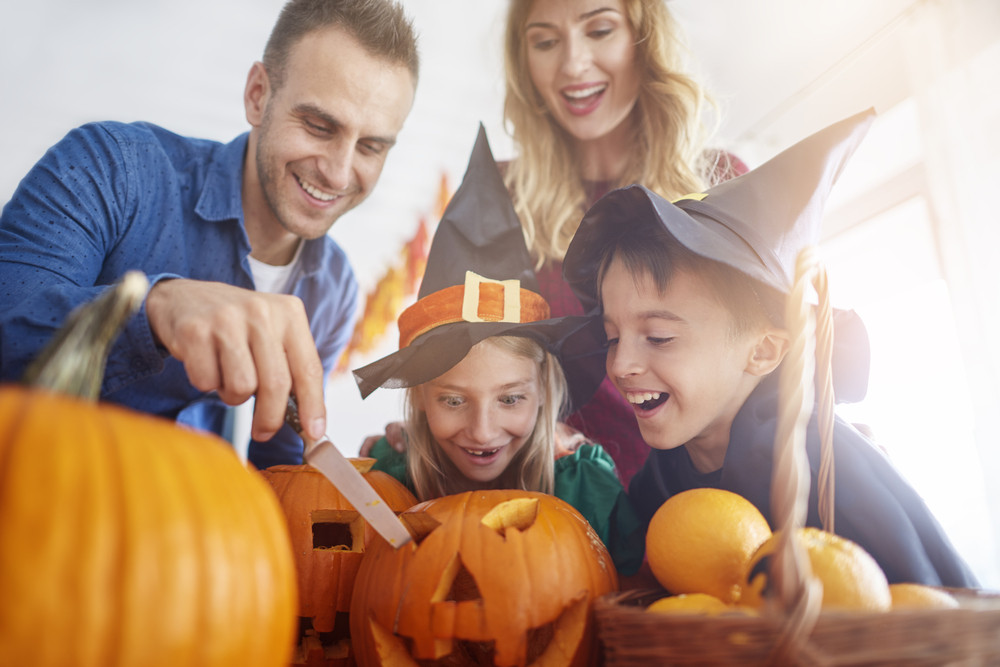 Family during the Halloween preparation