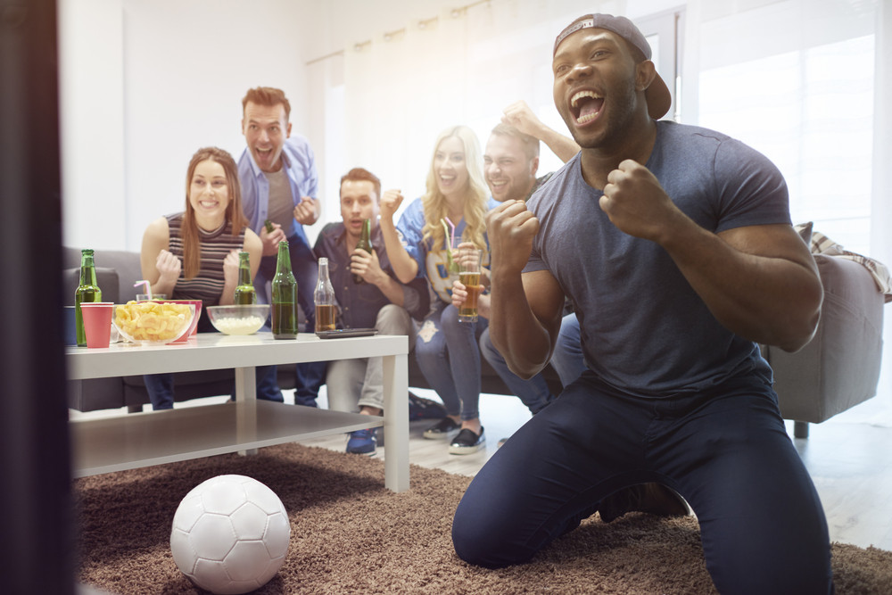 Fans of soccer in the living room