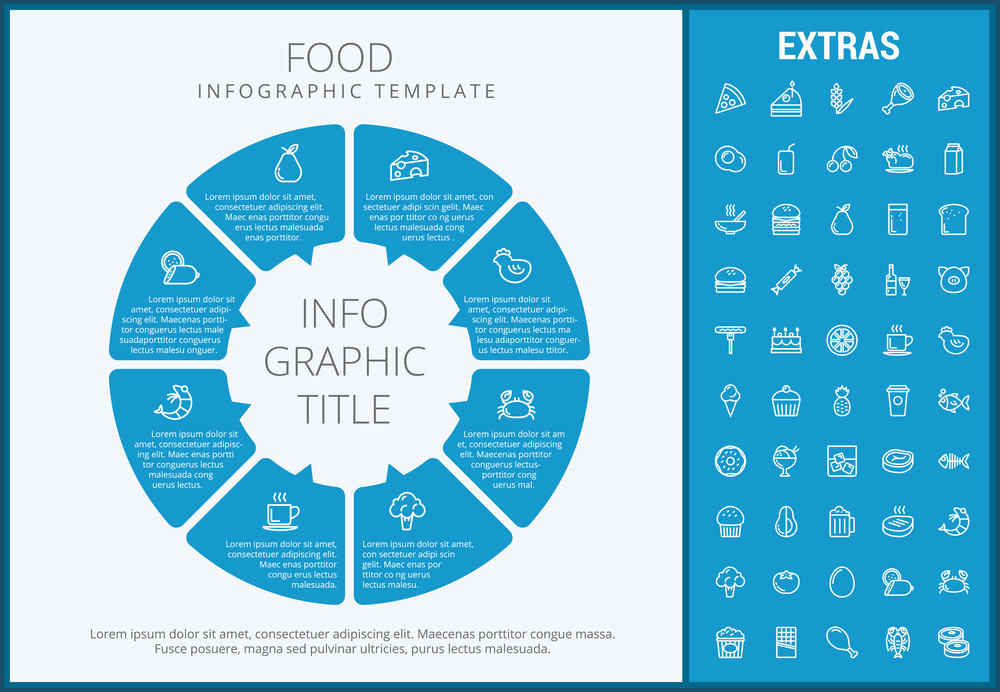 Food infographic template, elements and icons. Infograph includes customizable circular diagram, line icon set with food ingredients, restaurant meal, fruit and vegetables, sweet snacks, fast food etc