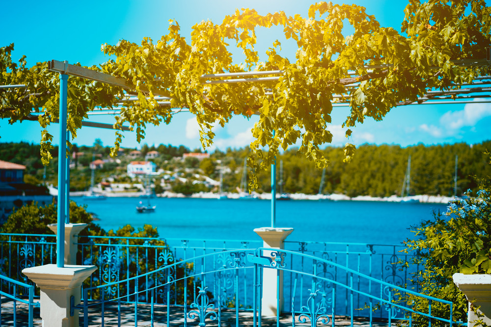 Gate and fence of traditional Greek house with vine growing on terrace. Picturesque bay behind the blue fance
