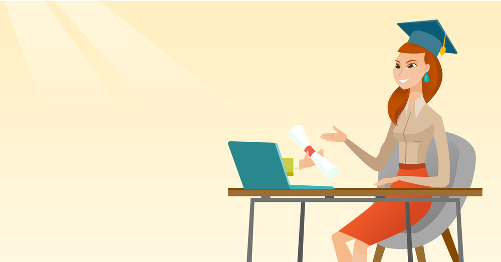 Graduate getting diploma from the computer. Happy student in graduation cap working on a computer. Concept of educational technology and graduation. Vector flat design illustration. Horizontal layout.