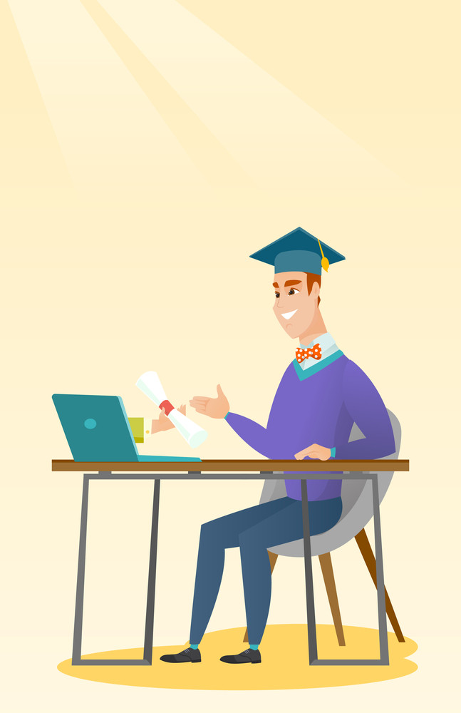 Graduate getting diploma from the computer. Happy student in graduation cap working on a computer. Concept of educational technology and graduation. Vector flat design illustration. Vertical layout.