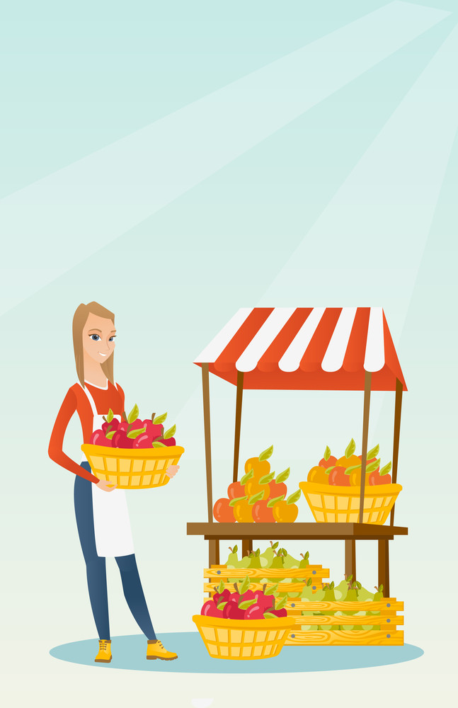 greengrocer standing near the stall with fruits and vegetables. Greengrocer standing near the market stall. Greengrocer holding basket with fruits. Vector flat design illustration. Vertical layout.