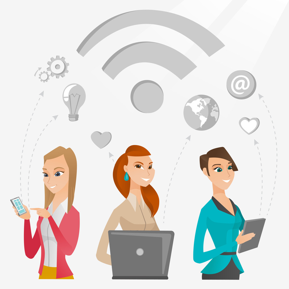 Group of young caucasian business women using technology in global business. Global business and globalization concept. Business technology concept. Vector flat design illustration. Square layout.