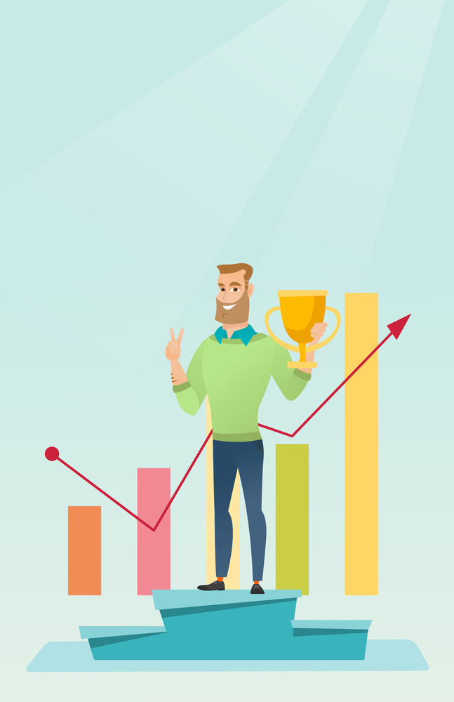 Happy caucasian businessman on a pedestal with business award. Cheerful smiling businessman celebrating his business award. Concept of business award. Vector flat design illustration. Vertical layout.
